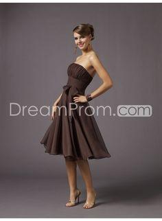 Amazing Chiffion Strapless Sleeveless Knee-Length Hot Sell Bridesmaid Dresses