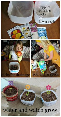 18 ways to use plastic milk jugs Earth Day Craft: Milk Jug Planter Recycled Crafts, Diy And Crafts, Crafts For Kids, Creative Crafts, Family Crafts, Kids Diy, Plastic Milk Bottles, Milk Jugs, Milk Cartons