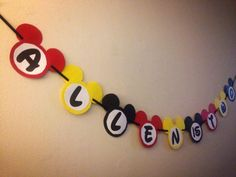 Mickey Mouse birthday name banner Www.facebook.com/custom.designs.by.ana