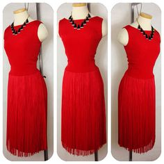 SHIMMY and S H A K E Vintage 1950s 60s RED long by hipsmcgee, $275.00