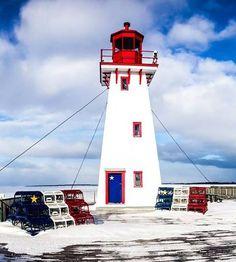 Old Portage Island Lighthouse at the New Brunswick Aquarium and Marine Centre in Shippagan New Brunswick, Acadie, Aquarium, Atlantic Canada, Prince Edward Island, Backyard Projects, Newfoundland, Plein Air, Lighthouses