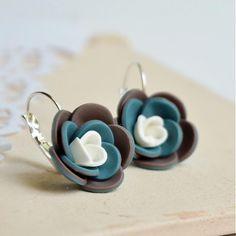 polymer clay flower earrings - handmade náušnice kvety od ketlin / petrolej a hnedá