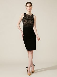 red valentino knit crocheted bodice shift dress