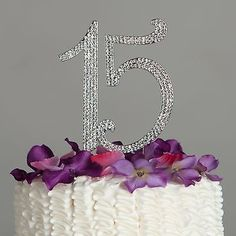 Quinceanera Fifteen 15 Number Birthday Cake Topper - 15th Rhinestone Decoration