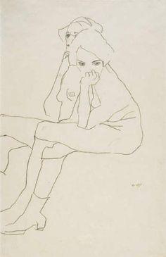 Egon Schiele - Two Seated Girls, 1911