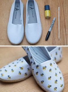 Customised summer shoes. DIY fashion. Summer style hack. Take your basic shoes to the next level | 17 Summer Style Hacks With A Difference