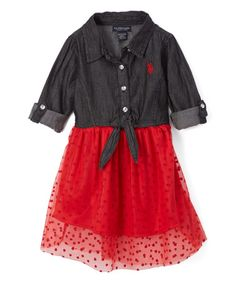Look what I found on #zulily! Black & Red Heart Shirt Dress - Infant, Toddler & Girls #zulilyfinds