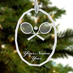 Personalized Oval Crystal Christmas Ornament - Tennis Rackets - Engraved for Free ** To view further for this item, visit the image link.