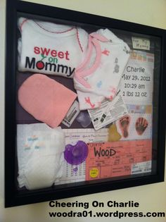 This is the shadow box that I assembled with Charlie's preemie NICU items.
