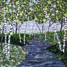 Spring Birches on the River, mosaic by Barb Keith