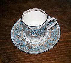 Wedgwood Florentine Turquoise Demitasse Cup & Saucer Set, no dimensions given. $15.00 at nardstrom on ebay, 4/21/16