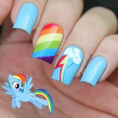 My Nail Art Journal: My Little Pony Nails Inspired - Nail Art Design Rainbow Nail Art Designs, Girls Nail Designs, Cute Nail Designs, Nail Art For Girls, Nails For Kids, Girls Nails, Nail Art Kids, Rainbow Dash, Nail Art Journal