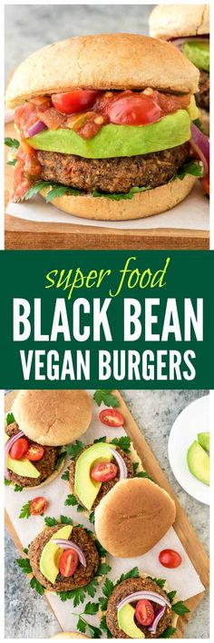 High protein, fiber, and DELICIOUS! Try these Smoky Black Bean Vegan Burgers tonight for dinner. They're packed with super foods, easy to freeze, and even my picky toddler loved them! Get th (Vegan Burger Recipes) Veggie Recipes, Whole Food Recipes, Vegetarian Recipes, Cooking Recipes, Healthy Recipes, Burger Recipes, High Protein Vegan Recipes, Protein Foods, Dinner Recipes