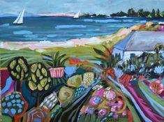 Landscape Painting Bohemian Original Sailboat Beach 24X18 California Colorful Abstract Folk by Karen Fields