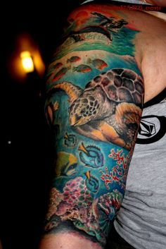 Ocean Tattoo Half Sleeves | ... and ocean tattoos on upper sleeve blue ink jelly fish ocean tattoos on