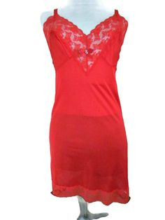 Red Lace Slip Nightgown Full Length Slip For by WhyWeLoveThePast
