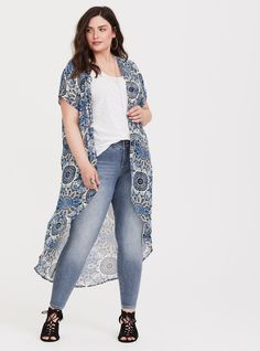 1c00809d24 Blue Medallion Chiffon Kimono - A medallion print paints a semi-sheer kimono  that has