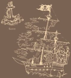 Love the ghost pirate ship and an octopus in the water!