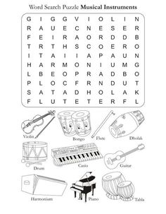 Looking for a Musical Instrument Worksheets For Kids. We have Musical Instrument Worksheets For Kids and the other about Play Kids it free. Music Word Search, Music Theory Worksheets, Music Lessons For Kids, Music Words, Piano Teaching, Music Activities, Elementary Music, Music Classroom, Worksheets For Kids