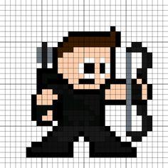 Hawkeye (Clint Barton) Perler Bead Pattern Easy Perler Bead Patterns, Melty Bead Patterns, Diy Perler Beads, Beading Patterns, Cool Pixel Art, Pixel Art Grid, Clint Barton, Square Drawing, Marvel Cross Stitch