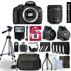 Canon EOS Rebel T5 Digital SLR Camera 3 Lens Kit + 64GB Multi Accessory Bundle #Canon