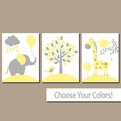 Yellow Gray Nursery Wall Art Canvas or Prints Baby by TRMdesign