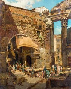 Heinrich Hansen (1821-1890) - Portico di Ottavia in Rome, oil on canvas, 77 x 61 cm.