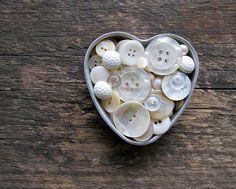 Vintage White Buttons in Heart Jello Mold by cattales on Etsy