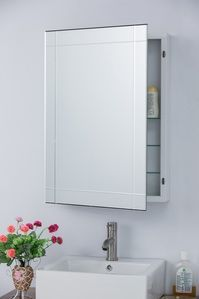 Complete your bathroom with a Medicine cabinet that not only provides a classic mirror but plenty of storage space with its adjustable glass shelves. With a powder coated steel body and mirror frame i