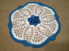 Round motif with pineapple and flowers On the main motive (white) I added decorative flower and a blue edge. Motif I crochet. Crochet Motifs, Thread Crochet, Cotton Thread, Floral Motif, Flower Decorations, My Works, Blanket, Handmade, Crochet Yarn