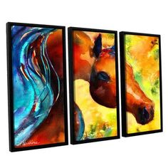 ArtWall Fantasy Arabian Horse by Svetlana Novikova 3 Piece Framed Painting Print