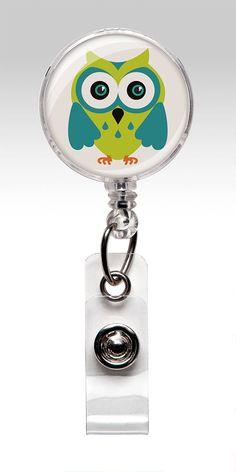 Owl Designer Retractable ID Badge Holder by SwansonGlassDesign,