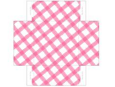 dollhouse miniature pink gingham box printie