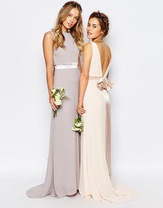 Image 3 ofTFNC Petite WEDDING Sateen Bow Back Maxi Dress