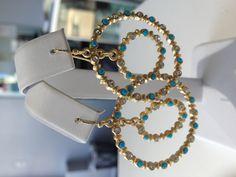 Gold & Turq With C/Z  Double Hoop Earrings