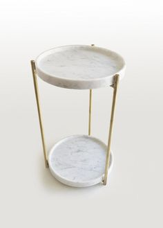 ROUND CARRARA MARBLE HIGH SIDE TABLE OLIVER | SIDE TABLE | EVIE GROUP