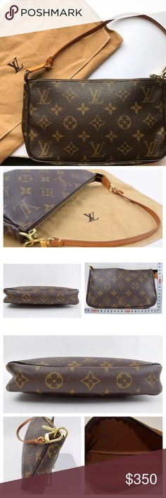 Authentic Louis Vuitton Pochette This is a 100% authentic Louis Vuitton Pochette Accessories purse. Beautiful purse is in excellent condition--made in France. Only sign of wear is on hardware, extremely minimal, see photos. Both interior and exterior look flawless. Comes with dust bag. You can purchase longer straps to use this purse as a crossbody or longer bag. Louis Vuitton Bags Clutches & Wristlets