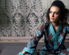 Maria B Cotton Collection 2012 For Women | Fashion In step.Com. brown and turquoise umbrella sleeve kurta.