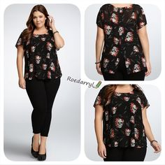 "Torrid Pretty Skull Top Beautiful printed blouse, semi sheer ( wear over a cami) . The back splits into a ""V"" that creates a flowing effect torrid Tops Blouses"
