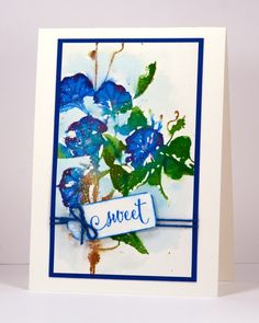 Sweet trumpet song stamped watecolor card by Heather Telford