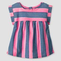 Baby Girls' Striped Babydoll T-Shirt Pink/Blue - Cat & Jack™