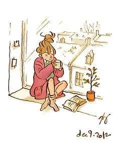 BLISS (noun) : sitting on a window sill, with a cup of steaming tea on a cold winter afternoon and a good book in hand.