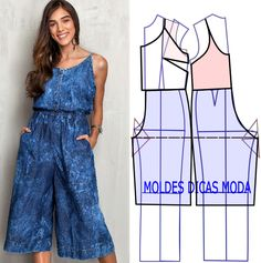 Pattern for jumpsuit Jumpsuit Pattern, Pants Pattern, Top Pattern, Fashion Sewing, Diy Fashion, Ideias Fashion, Fashion Outfits, Diy Clothing, Clothing Patterns