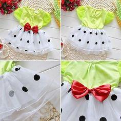 Toddler Baby Kids Girl Dress Princess Party Bow Tulle Polka Dot Fancy Tutu Dress