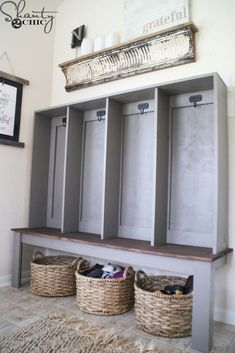 Home Remodeling Mudroom DIY Wall Locker - Build a DIY Wall Locker to create a pretty and functional storage space. Perfect for an entryway or mudroom. Get the free plans and how-to video now! Garage Lockers, Entry Way Lockers, Home Lockers, Mudroom Cubbies, Built In Lockers, Mudroom Laundry Room, Garage Entry, Garage Workbench, Front Entry