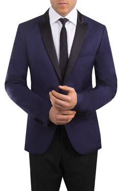 Manhattan Midnight Blue, 2 Button Peak Lapel, Slim Fit Tuxedo by Selected with Black Pants