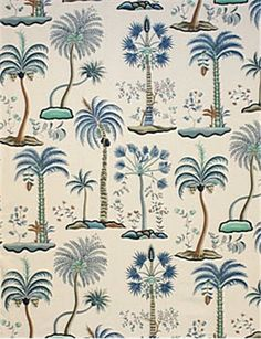 """Clarence House Las Palmas 33976 Blues: Fiber Content Cotton Country of Origin ITALY Width 54 """" Horizontal Repeat 27 """" Vertical Repeat """" Velvet Upholstery Fabric, Ticking Fabric, Bathroom Wallpaper, Home Wallpaper, Fabric Wallpaper, Clarence House, Bathroom Pictures, Fabric Patterns, Creations"""