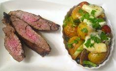 """ Flank Steak & Gorgonzola-Gratinated Vegetables """