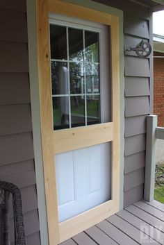 Building a screen door is a great DIY project that will add beautiful character to your home. Learn how to build a screen door with this tutorial. Wood Screen Door, Sliding Screen Doors, Wooden Screen, Front Doors, Garage Doors, Diy Porch, Diy Patio, Porch Ideas, Yard Ideas