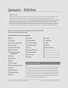 Nourishing Minimalism - 12 Months of Decluttering Charts to help get rid of 2014 items in 2014!